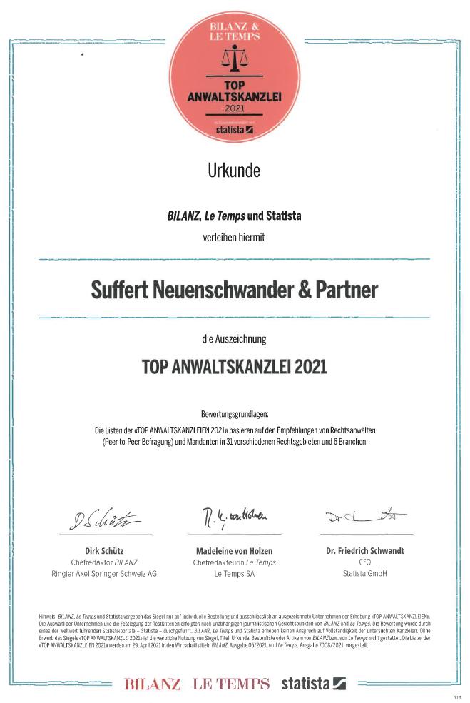 Suffert Neuenschwander & Partner TOP Anwaltskanzlei 2021; Peter Neuenschwander, Simon Oeschger, Michael Widmer